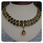 18k Gold Australian Sapphire and Diamond Pendant