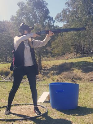 One of our staff members Melissa at a shotgun comp in Mudgee.