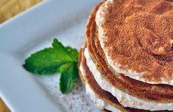 Tiramisu Protein Pancakes with Banana Frosting