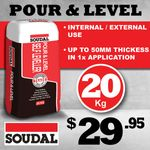 UP TO 50mm THICKNESS IN ONE APPLICATION WITH SOUDAL POUR & LEVEL